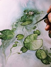 Water Lilies Watercolor Illustration - Detail