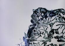 Dark Blue Indian  Ink Seeping In An Ornate Pattern