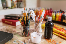 Close-up Of Brushes And Art Supplies