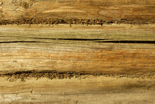 An Old Weathered Wall Of A House Made Of Thick Brown Logs With Cracks And Knots. A Layer Of Dry Marsh Moss Between The Logs For Thermal Insulation, Sound Insulation. Texture And Background. Copy Space