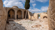 Ruins Of A Mosque, The Last Remnant Of Depopulated Arab Village Abbasia, Western Galil. An Arabic Facade With Three Large Arches And Large Dome Adorning The Roof, Ancient Cypress Tree In The Courtyard