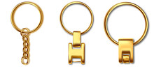 Leather Keychain, Trinket Keyring Mockup. Keyholder And Breloque Illustration. Keyring Holders Isolated On White Background. Blank Accessory.