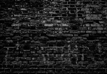 Old Dirty Wet Shabby Brick Wall Of Ancient Ragged Horror Facade. Uneven Pitted Fissured Stone. Rusted Rot, Messy Cracked Scary Blocks. Retro Dark Grimy Rusty Daub Brickwall For 3D Rustic Grunge Design