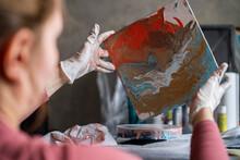 Young Woman Doing Fluid Art