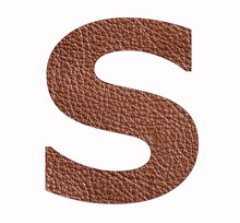 Alphabet Letter S - Brown Leather Texture Background