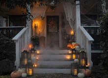 Front Porch Halloween Decor After Dark