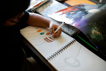 Kid Drawing Planers And The Solar System