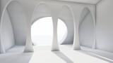 Fototapeta Do przedpokoju - Architecture interior background blank room with columns 3d render