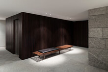 Wooden Bench In Waiting Room