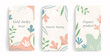 Template for social media posts, stories, banners, mobile apps, web and internet ads. Vector design layout with copy space for text, abstract shapes, leaves, flowers. Modern concept. Pastel colors.