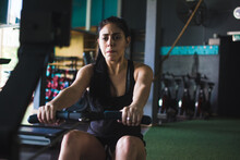 Woman Working Out Hard On Cardio Exercise