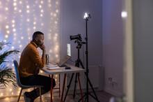 Influencer Preparing For Live Streaming