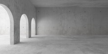 Abstract Empty, Modern Concrete Room With Archways On The Left And Rough Floor - Industrial Interior Background Template