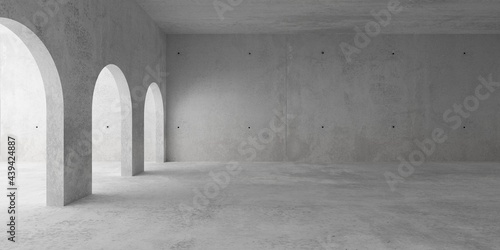 Obraz na plátně Abstract empty, modern concrete room with archways on the left and rough floor -