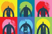 Silhouettes Of People On Different Color Backgrounds