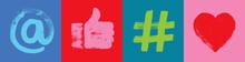 Social Media Banner, At Symbol, Like Hand, Hashtag, Heart