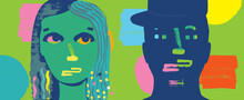 Colorful Illustration Of Man And Woman's Face