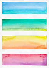 Abstract Watercolour Landscapes In Colourful Gradients
