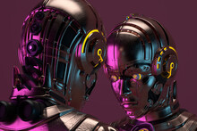 Portrait Of Two Connected Robot