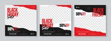 Set Of Three Black Friday Sale Social Media Pack Template Premium Vector