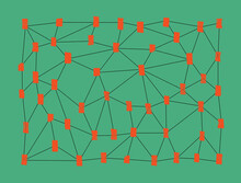 Network With Brush Strokes At Intersection Points On Green