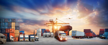 Container Truck In Ship Port For Business Logistics And Transportation Of Container Cargo Ship And Cargo Plane, Logistic Import Export And Transport Concept