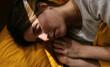 Gentle woman sleeping in bed