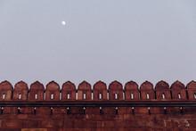 Full Moon Over Red Stone Wall, Delhi, India