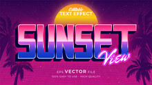 Editable Text Style Effect - Retro Summer Text In 80s Style Theme