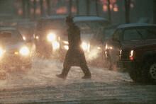 Traffic Jam And Snow