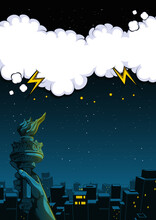Illustration Of The City At Night And Hand Of The Statue Of Liberty, Comic Speech Bubble Background, Illustration Of Buildings.