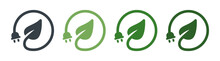 Renewable Green Energy Saving Icon. Electrical Charge Leaf And Power Plug Sign. Sustainable Concept