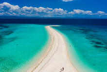 Aerial View Of Shoal. Amazing Beach With A Turquoise And Transparent Sea