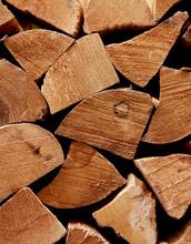 Closeup Of Split Firewood