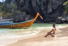 Beach Babe In White Bikini On Empty Beach