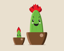 Baby And Fire Cactus In A Pot, Vector Illustration