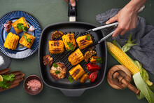 Crop Cook With Grilled Vegetables In Frying Pan