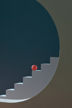 Abstract Minimal Background. Red Ball Placed On Blue Steps, Isolated Stairs.