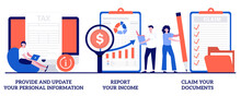 Provide And Update Your Personal Information, Report Your Income, Claim Documents Concept With Tiny People. Tax Filing Vector Illustration Set. Tax Credits And Expenses, Financial Report Metaphor