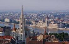Overview Of The Historic Center Of Budapest, Including The Houses Of Parliament.