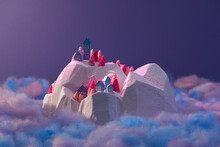 Small Handmade Winter Objects With Colorful Paper And Foam