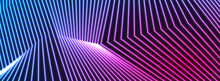 Blue And Purple Neon Laser Glowing Curved 3d Lines Abstract Tech Background. Vector Banner Design