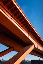 Orange Bridge Construction Detail And Blue Sky