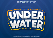 Under Water Text Effect Template Design With Abstract And Bold Style Use For Business Brand And Logo