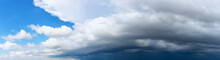 Dark Sky Before Storm With Black Beautiful Clouds. Seamless Panorama Angle View