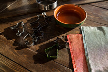 Christmas Cookie Cutters In A Table