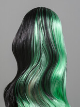 Female Doll From Behind With Long Wavy Dark Hair With Green Highlights
