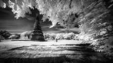 Infrared Photography Black&White Pagoda At Wat Phra Sri Sanphet Temple,One Of The Famous Temple In Ayutthaya, Temple In Ayutthaya Historical Park, Ayutthaya Province, Thailand.UNESCO World Heritage