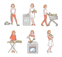 A Woman Is Doing Housework. Hand Drawn Style Vector Design Illustrations.