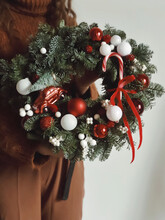 Beautiful New Year Wreath In Red Colors